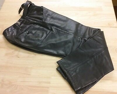 Mens Leather Pants fully lined suspender buttons Black 32 W x 38 L Vtg thick