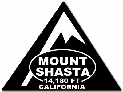 3x4 inch Black Triangle MOUNT SHASTA 14,180ft California Sticker - climb hike mt