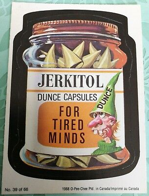 Wacky Packages 1988 OPC O-PEE-CHEE Jerkitol Dunce Capsules Card #39