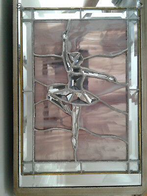 Ballerina Brass Leaded Stained Glass Window Panel with Beveled Glass