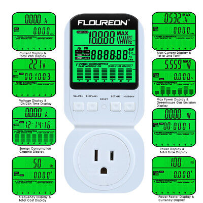 Digital Power Meter Electricity Monitor Energy Consumption Analyzer US Plug-in