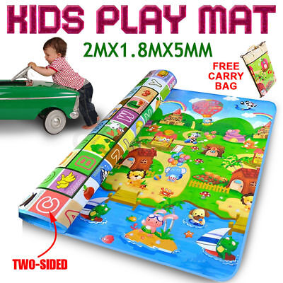 2M×1.8M Bady Kids Play Mat Floor Rug Picnic Crawl Foam Blanket Travel Camping