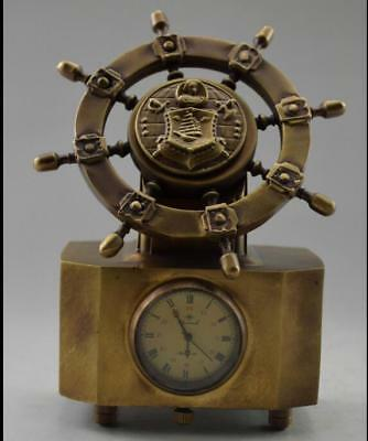 Collectible Decorated Old Handwork Copper Carved Rudder Mechanical Table Clock