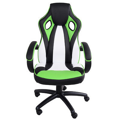 Executive Racing Office Chair High Back PU Leather Swivel Computer Desk Green