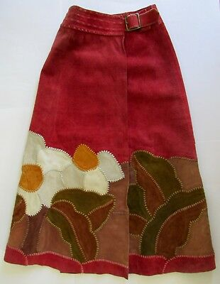 VTG 70's CHAR Santa Fe Patchwork Daisy Suede Maxi Skirt Made in Mexico Sz XS