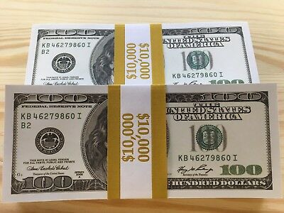 $10.000 Full Print Invalid 2006 White Us $100 Best Fake Paper Money 100 Pieces