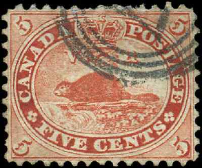 Canada #15 used F-VF 1859 First Cents 5c vermilion Beaver 4-ring '..7' cancel