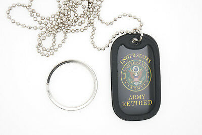 United States U.S. Military Army Retired Dog Tag Necklace / Keychain