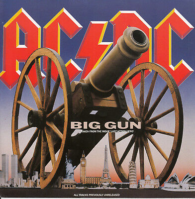"AC/DC ACDC Big Gun & Back In Black (Live) 7"" 45 rpm record RARE! + jukebox strip"