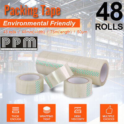 60 Roll - 50 Micron Clear - Packing Packaging Sticky Tape 75 Meter x 48mm - 50U