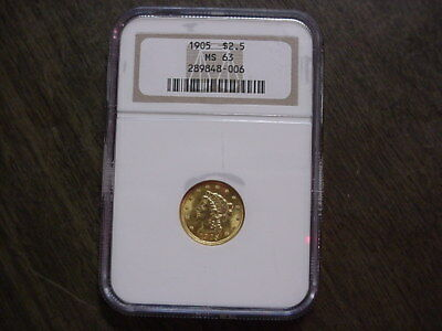 1905 Us $2 1/2 $2.50 Liberty Quarter Eagle Gold Ms63 Ms 63 Ngc Brown Label Nr!!