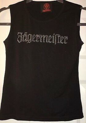 Women's  Jagermeister Tank Top Shirt, Size Small, Black with silver sparkle text