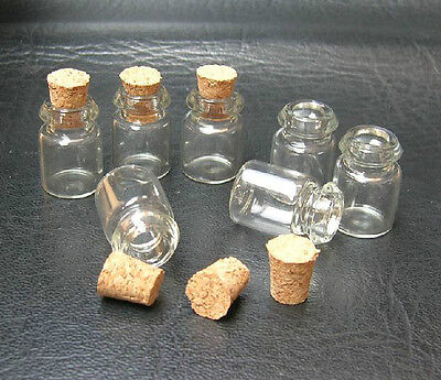 LOT of 50 small glass vials with cork tops 0.5ml tiny bottles Little empty jars