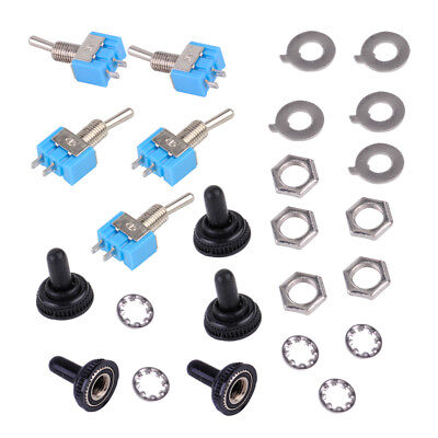 5 Sets ON-OFF Toggle Switch SPST MTS-101 6mm 2Pin 6A with Waterproof Cover Cap