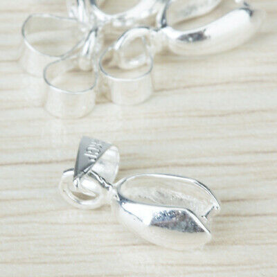 20pcs Silver Plated Pendant Pinch Clip Clasp Bail Connector Jewelry Findings