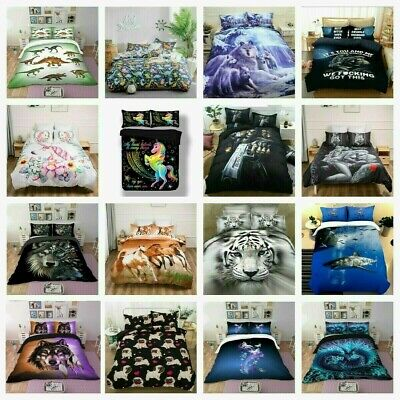 Oriental Doona Duvet Quilt Covers Set Single Queen King Bed Animal Pillow Cases