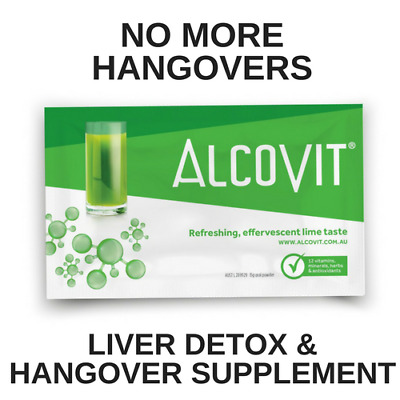 Hangover Prevention Drink Alcovit Alcohol Cure Liver Detox Party Kit 2 Sachets