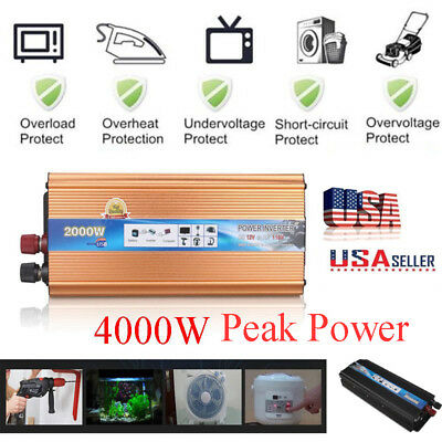 4000W 2000W Watt Peak Power Inverter DC 12V to AC 110V Car Truck USB Charger