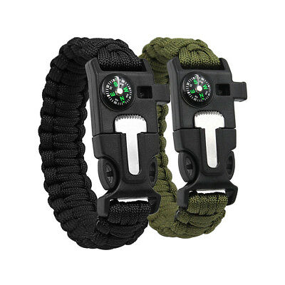5 in 1 Survival Paracord Bracelet Flint Fire Starter Whistle Compass Gear Tool