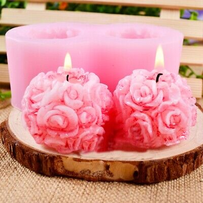 3D Rose Flower Ball Shaped Silicone Mold Decorative Cake Soap Candle DIY Moulds