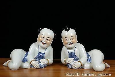 A pair Beautiful Chinese Blue and white Porcelain Child boys and girls