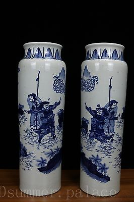 A pair Beautiful Chinese Fine Blue and white Porcelain character Vase