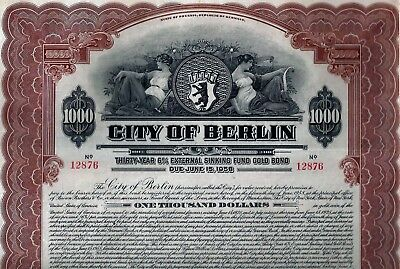 City of Berlin - State of Prussia 1928, 6% Gold Bond due 1958 (1.000 $) + Coup.