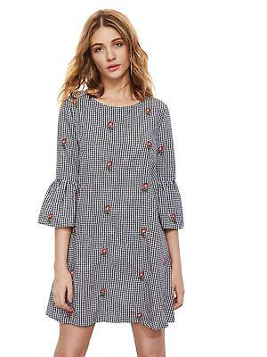 3c58d7577c5119 FLOERNS WOMEN'S BELL Sleeve Embroidered Tunic Dress - $21.49 | PicClick
