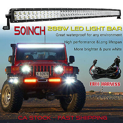 50 inch LED Light Bar Curved Offroad Truck Driving Fog Boat Ford Jeep SUV 4x4 52