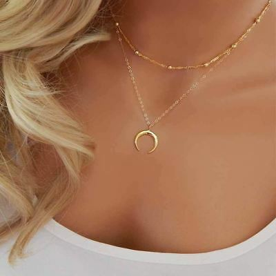 TOMTOSH 2017 New Fashion Double Horn Necklace Crescent Moon Necklace Boho Jewelr