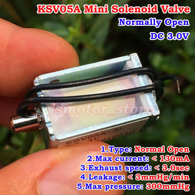 KOGE Micro Electric Solenoid Valve DC 3V N/O Normally Open for Gas Air Valve