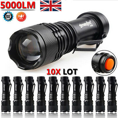 10pcs Lots 5000LM CREE Q5 LED AA/14500 ZOOMABLE Flashlight Torch Lamp