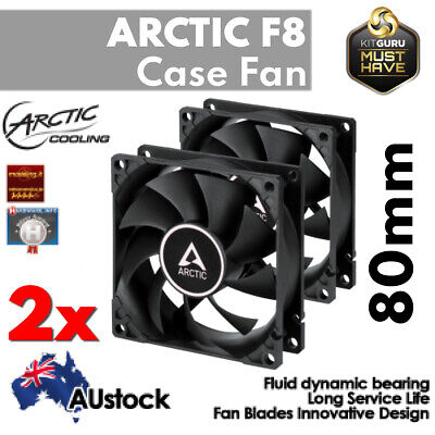 2x Arctic Cooling F8 80mm Low Noise Case Quiet Fan Cooler Fluid Bearing