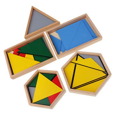 Montessori Educational Learning Wood Toy - Constructive Triangles Matching