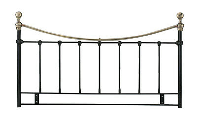 5ft Kingsize Metal Headboard for Bed in Black finish with Antique brass BRAND NE