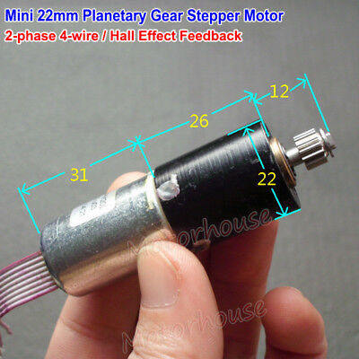 Micro 22mm Planetary Servo Stepper Motor 2-Phase 4-Wire Precision Metal Gearbox