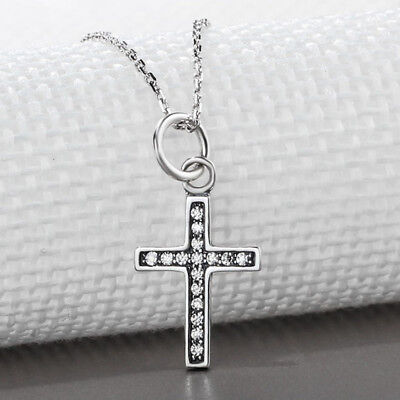 Vintage Style Cross with Gem Pendants Sterling Silver Religious Necklace Jewelry