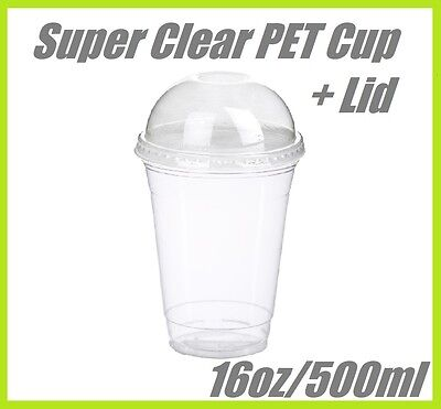 200 16oz Super Clear Cups PET + Dome Lids Plastic Cup Disposable Lid Smoothie
