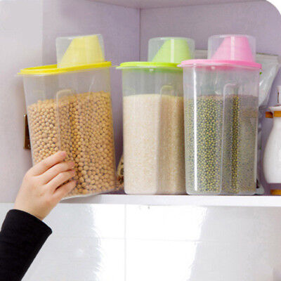 1.9L/2.5L Plastic Kitchen Food Cereal Grain Bean Rice Storage Container Boxes