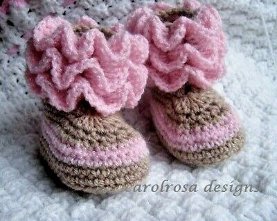Crochet Pattern Booties - Ruffled Cuff Baby Boots - 0 to 12 month FREE P & P