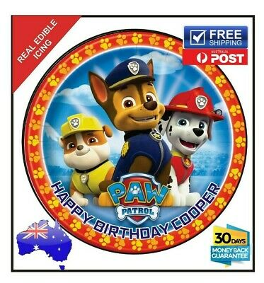 PAW PATROL Edible Icing Image Cake Birthday Decoration Personalised Party Topper