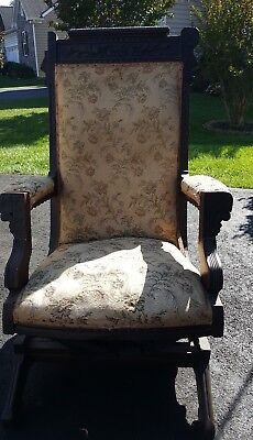 Antique Walnut 1890's Eastlake Rocking Chair~Victorian Rocker