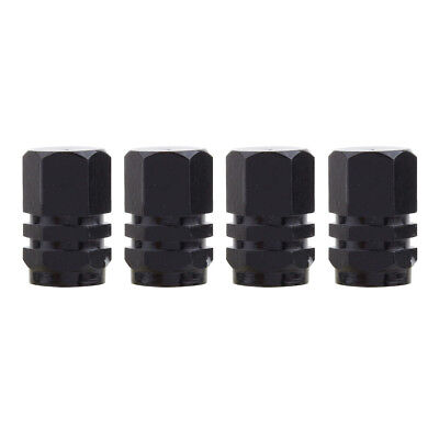 4pcs Mz Hexagon Aluminum Car Tire Valve Stem Caps Black Valve Dust Cover