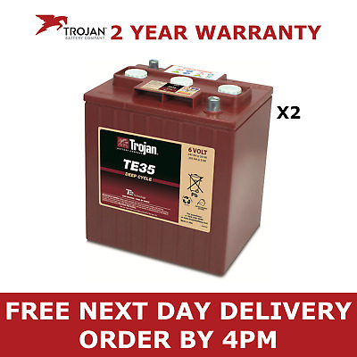 2x Trojan 6V Deep Cycle Battery - TE35