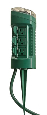 Outdoor Yard Stake with Photocell and Built In Timer 6 Grounded Woods 13547WD