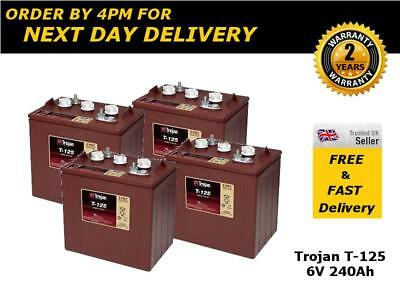 4x Trojan 6V Deep Cycle Leisure Boat Batteries - T125