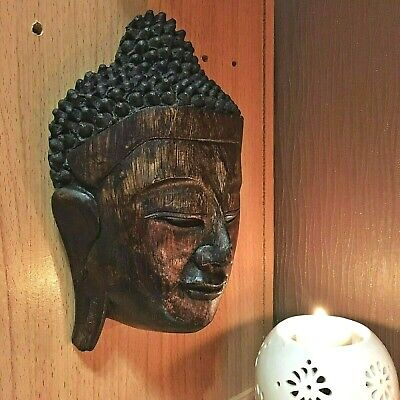 VINTAGE LARGE WOOD CARVED BUDDHA FACE MASK WALL SCULPTURE HOME DECOR ANCIENT #1