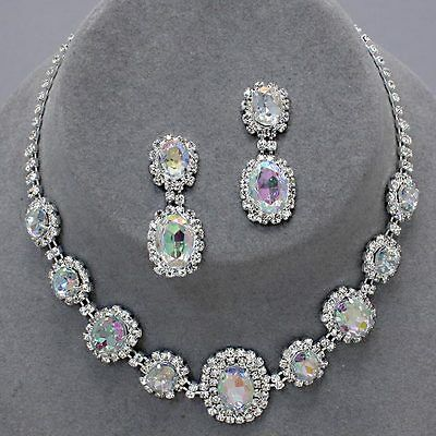 AB Aurora Borealis rhinestone crystal necklace set brides proms party sparkly