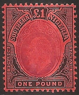 Southern Nigeria 1909 Kevii Sg44 One Pound Mounted Mint Cv£240 Vf