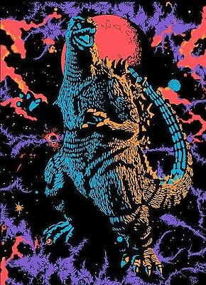 Blacklight 1970's Godzilla Psychedelic Art Sticker or Magnet